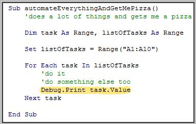 Example on Debug.Print in VBA