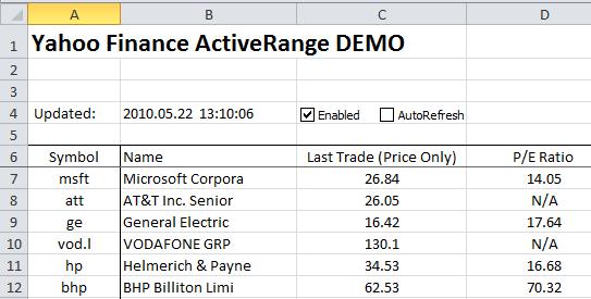 Excel Stock Quotes - Final workbook - Demo
