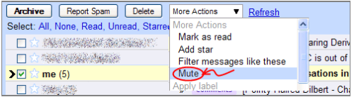 Mute conversations in Gmail