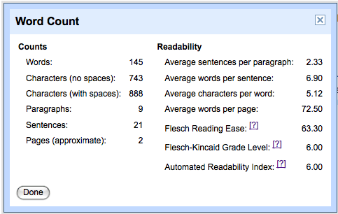google-docs-readability-word-statistics