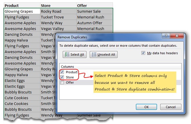 Remove duplicate combinations using Excel - tip