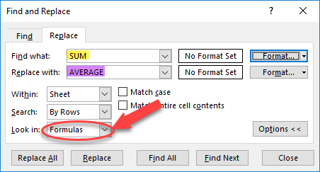 Find replace formulas to change them quickly in Excel.