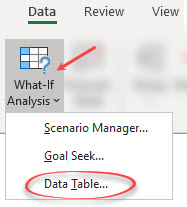 Data Table button in Excel