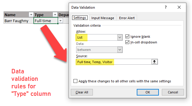 data validation rules for type column