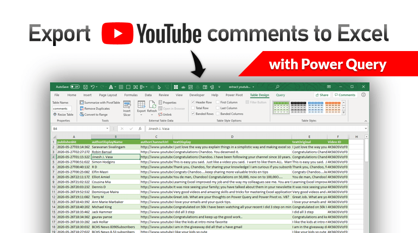 Howto export youtube video comments to Excel file?