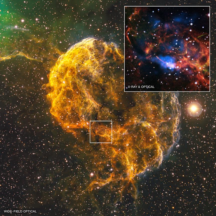 La nebulosa de la Medusa, también conocida por su nombre oficial IC 443, es el resto de una supernova que se encuentra a 5000 años luz de la Tierra. Nuevas observaciones con Chandra muestran que la explosión que creó la nebulosa de la Medusa puede haber formado también un objeto peculiar situado en el borde sur del remanente, llamado CXOU J061705.3+222127 o J0617para abreviar. El objeto es probablemente una estrella de neutrones que gira rápidamente o púlsar.