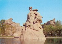 Mamayev Kurgan, a memorial to the heroes of the Battle of Stalingrad. The original burial mound was 102 meters high. Stalingrad was later renamed Volgograd.