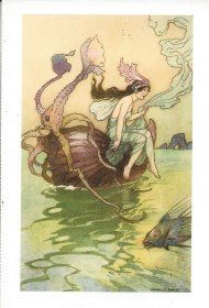 "Week 5: From Natasa (Australia). Illustration by Warwick Goble for The Book of Fairy Poetry, edited by Dora Owen, 1920. ""For the Nautilus is my boat/In which I over the waters float."""