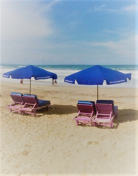 Chandra's sunbeds on Legian Beach, Bali