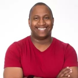 Jerome Hardaway, an African-American man with short black hair and red shirt