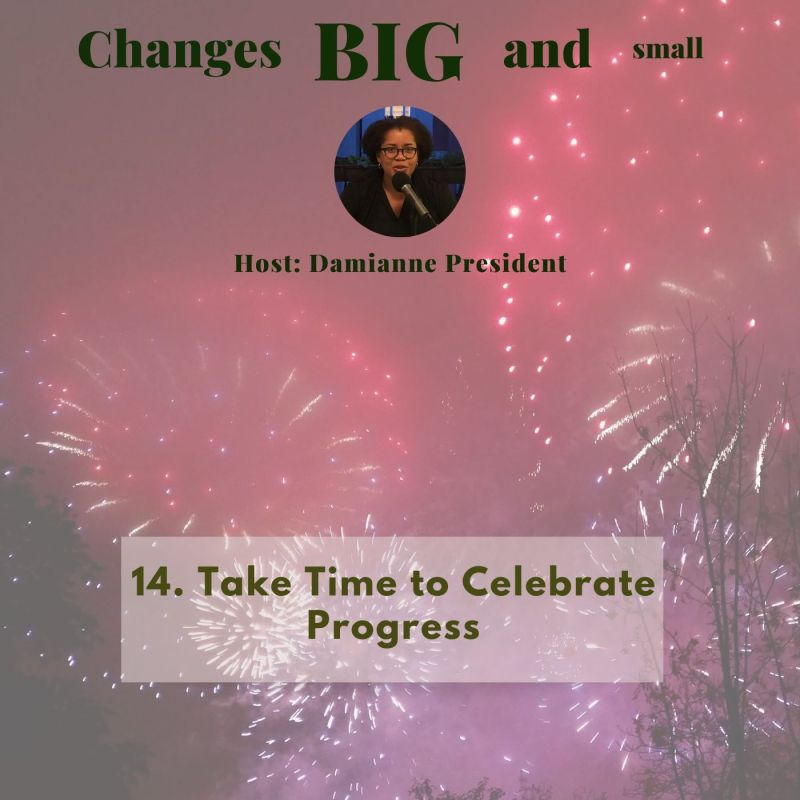 Cover art of fireworks for episode 14 of Changes Big and Small - Take Time to Celebrate Progress