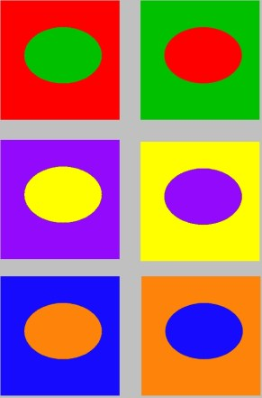 contrast of complementary colors, including red-green, purple-yellow, and orange-blue