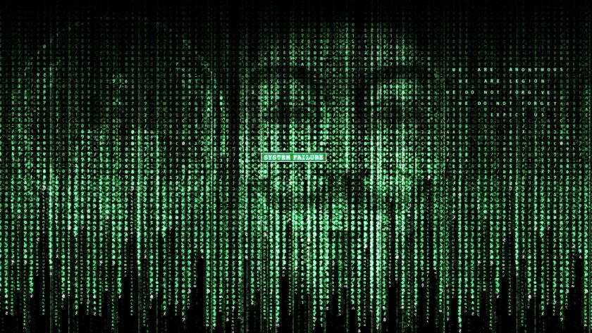 anonymous matrix crossover wallpaper with V mask and message, we are anonymous, we are legion, we do not forgive, we do not forget, expect us