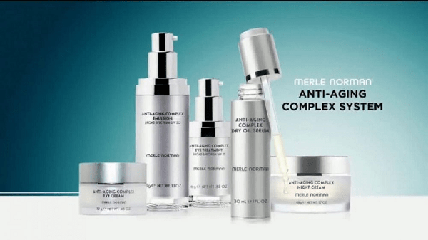 Pic of merle Norman Anti-aging system with various products