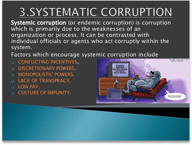 A slide about Systematic Corruption (or endemic corruption). Factors listed are, Conflicting Incentives, Discretionary Powers, Monopolistic Powers, Lack of Transparency, Low Pay, and Culture of Impunity.