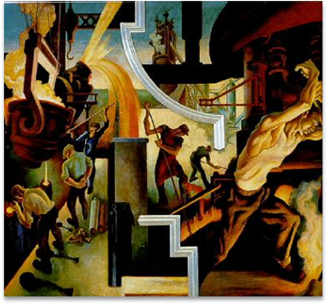 Benton's Detroit mural of small scenes of men doing various kinds of industrial work.