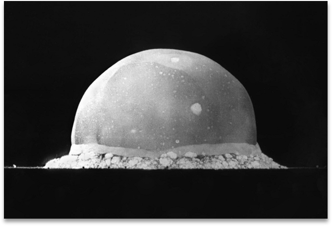 A picture of the Trinity Atomic Explosion, very early after initiation of the explosion when it was still a complex bubble.