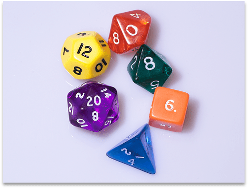 A bunch of dice with many different geometries and colors, like the ones for D&D.