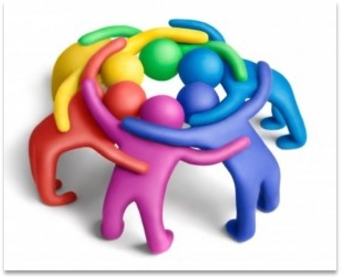 Stylized diagram of people of different colors in huddle as metaphor of collaboration.