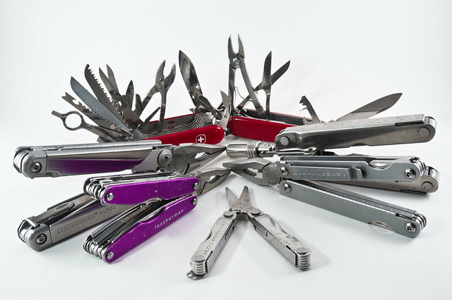 A variety of Swiss Army Knives and other Multi-tools