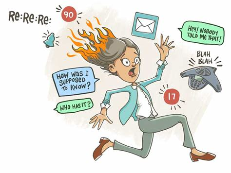 A clipart image of a woman running with her hair on fire, tormented by various demands that she can't respond to effectively. They include email, Re:Re:Re:, 90, 17,Hey! Nobody told me that, How was I supposed to know that, Who has it?, and a polycom talking nonsense.