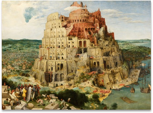 An artistic rendition of the Tower of Babel