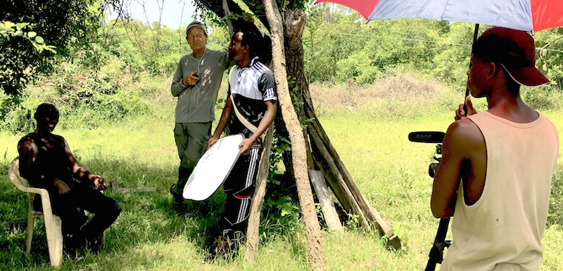 Interviewing a tree farmer with help from the Eco Camp staff