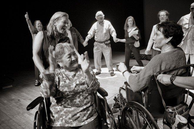 Elders and community members rehearsing for concert at the Santa Fe Lensic Performing Arts Center