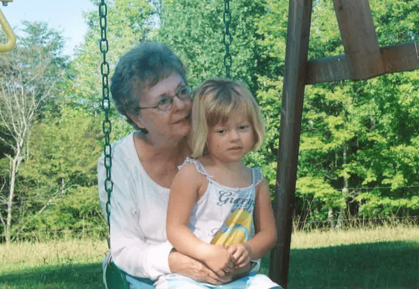 Margaret Hicks, mother-in-law of Angie Wall, with her granddaughter Isabel