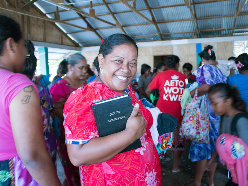Distributing bibles in the Marshall Islands