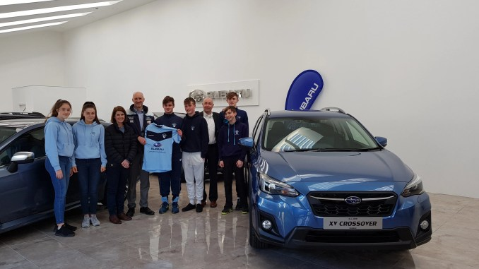 Monkstown Hockey Club team members with the Subaru XV Crossover