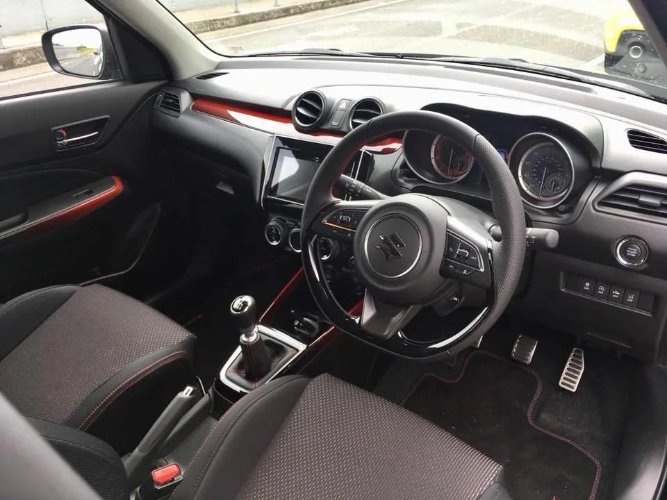 The interior of the Suzuki Swift Sport