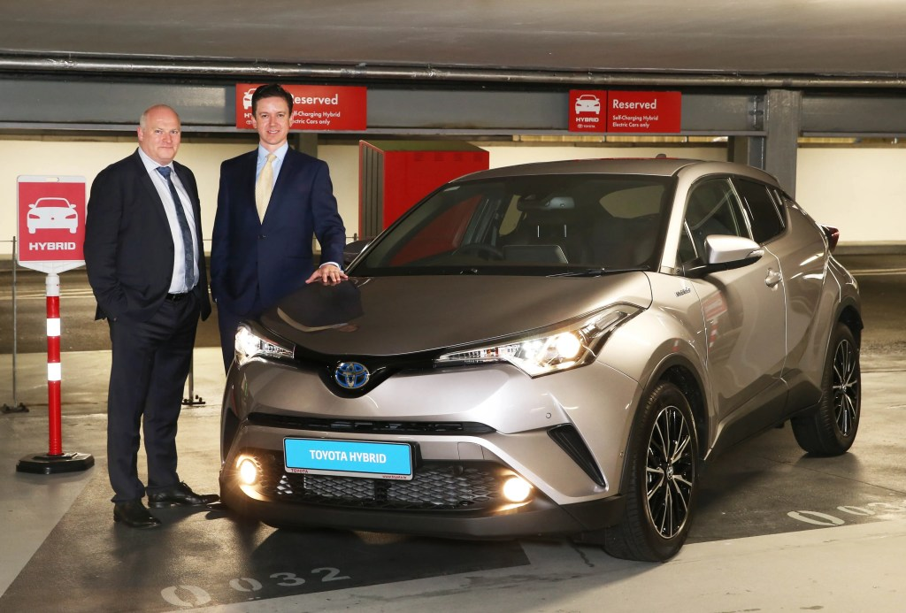 Mark Howard (Q-Park) and Michael Gaynor (Toyota Ireland) pictured with the Toyota C-HR Hybrid