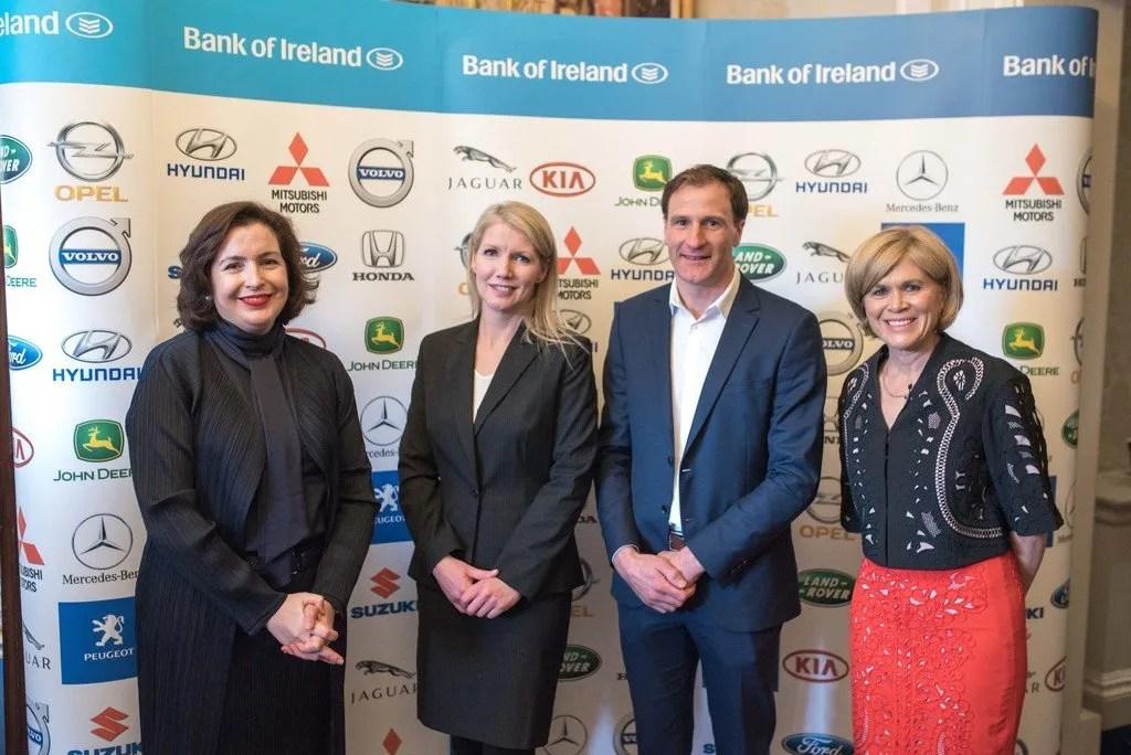 Francesca McDonagh, CEO of Bank of Ireland, Geraldine Herbert, Motoring Journalist and Editor, Gerry Hussey, Performance Psychology Consultant & Motivational speaker and Anne Cassin, Master of Ceremonies.