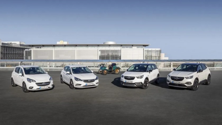 "Some of Opel's new ""120 Years"" models including Corsa, Astra, Crossland X and Grandland X"