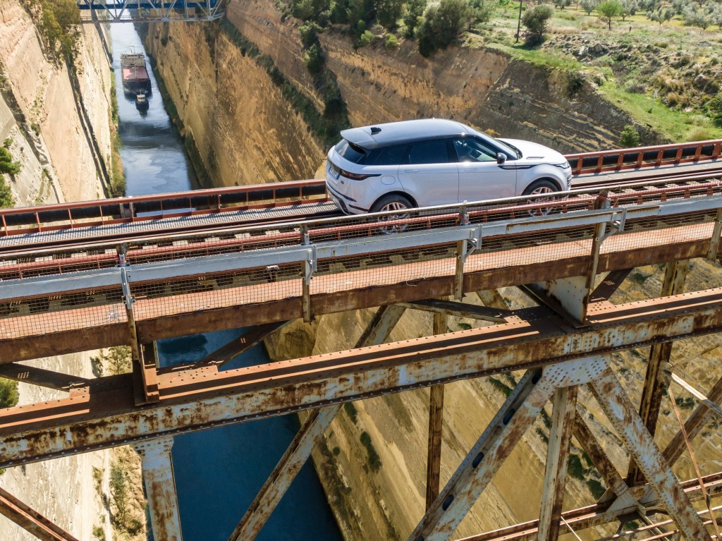 Crossing the Corinth Canal in the Range Rover Evoque