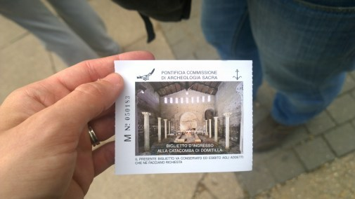 Our ticket to enter the Domatilla Catacombs
