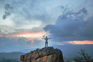 man on a peak