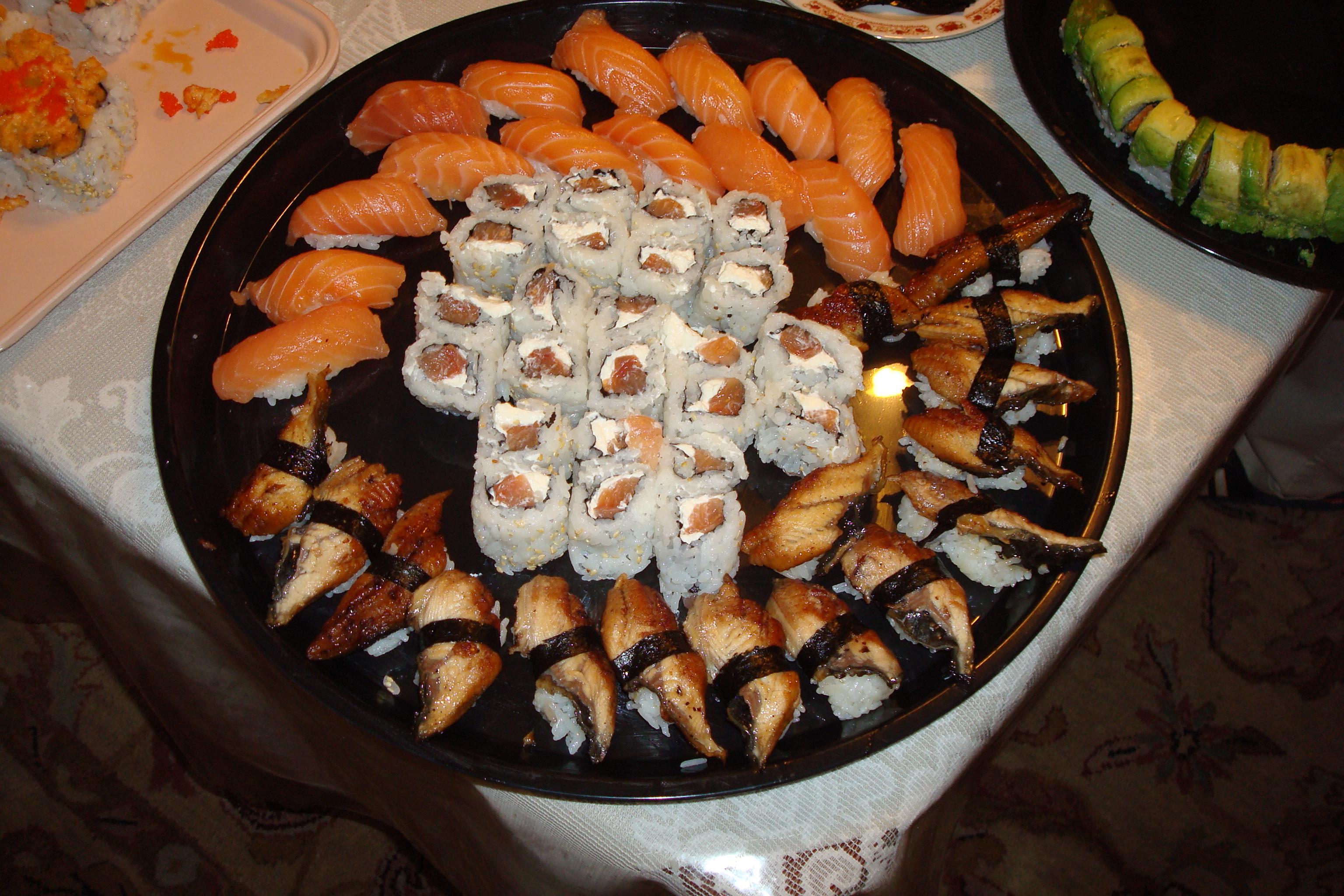 Salmon Nigiri, Philadelphia Roll, Eel Roll