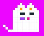 un chat pixélisé avec de jolie petites joues