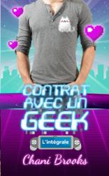 un torse en tee-shirt avec un chat en pixel dessus et plein de cœurs en pixel. Le titre «contrat avec un geek» apparait en néon