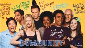 tous les personnages en mode benetton de Community la meilleure série geek de tous les temps.
