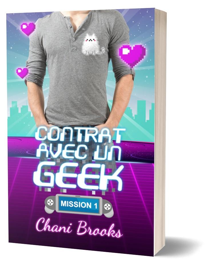 couverture de contrat avec un geek, un geek en tee shirt avec un chat pixélisé dessus est entourés de cœurs en pixel art avec un halo de néon et un fond à la Tron