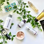 various beauty products flatlay for skincare routine