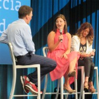 CompTIA CEO Todd Thibodeaux (left) chats with Samantha Ciaccia (center) and Brittani von Roden (right) at ChannelCon.
