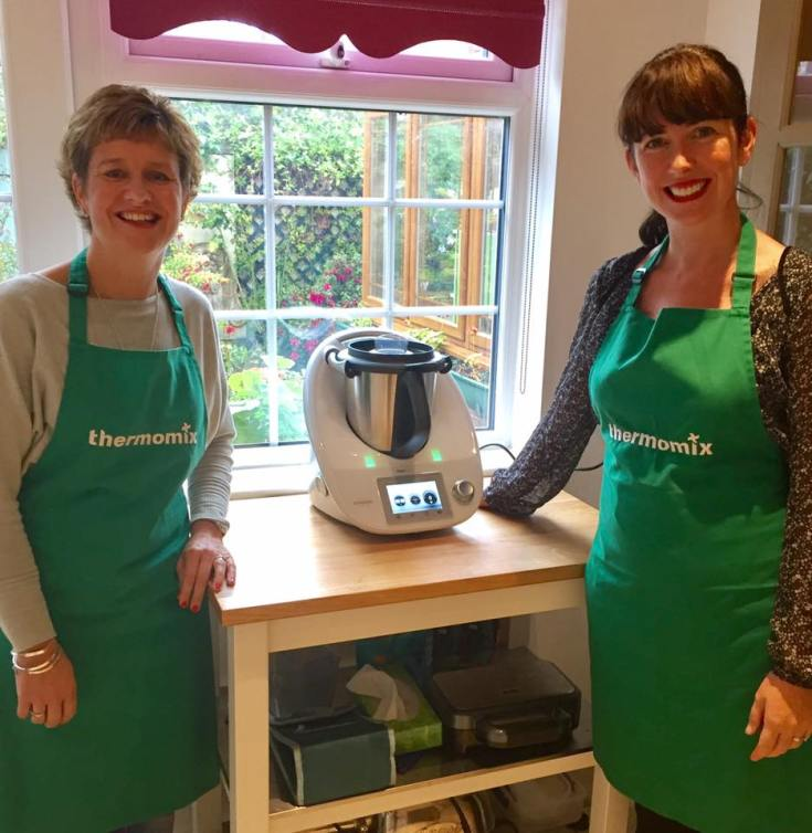 Dawn and I standing in my kitchen beside the Thermomix