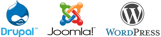 Drupal Joomla WordPress 650x150