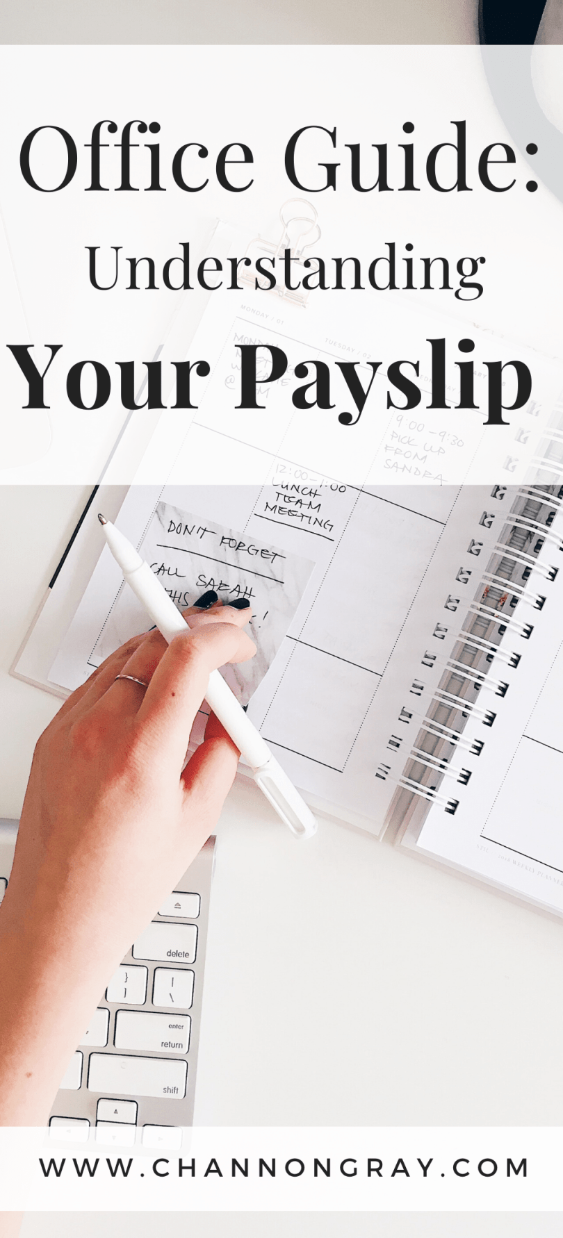 No matter if you've just received your first payslip or this is the 150th, understanding what each section means and how your pay works is incredibly important. Either in a paper or electronic format, your payslip contains a number of essential pieces of information including your national insurance number, gross and net pay, tax codes and more. In this useful guide, we take you through what each section means for you. - www.channongray.com // heythereChannon
