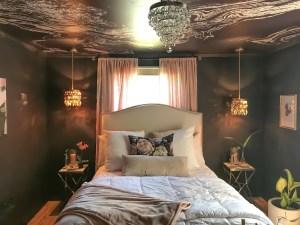 moody bedroom, master bedroom, black bedroom, wallpaper, fifth wall, wallpapered ceiling, dmv interior designer, dc designer, Maryland designer, northern Virginia designer, bowie maryland, washington dc