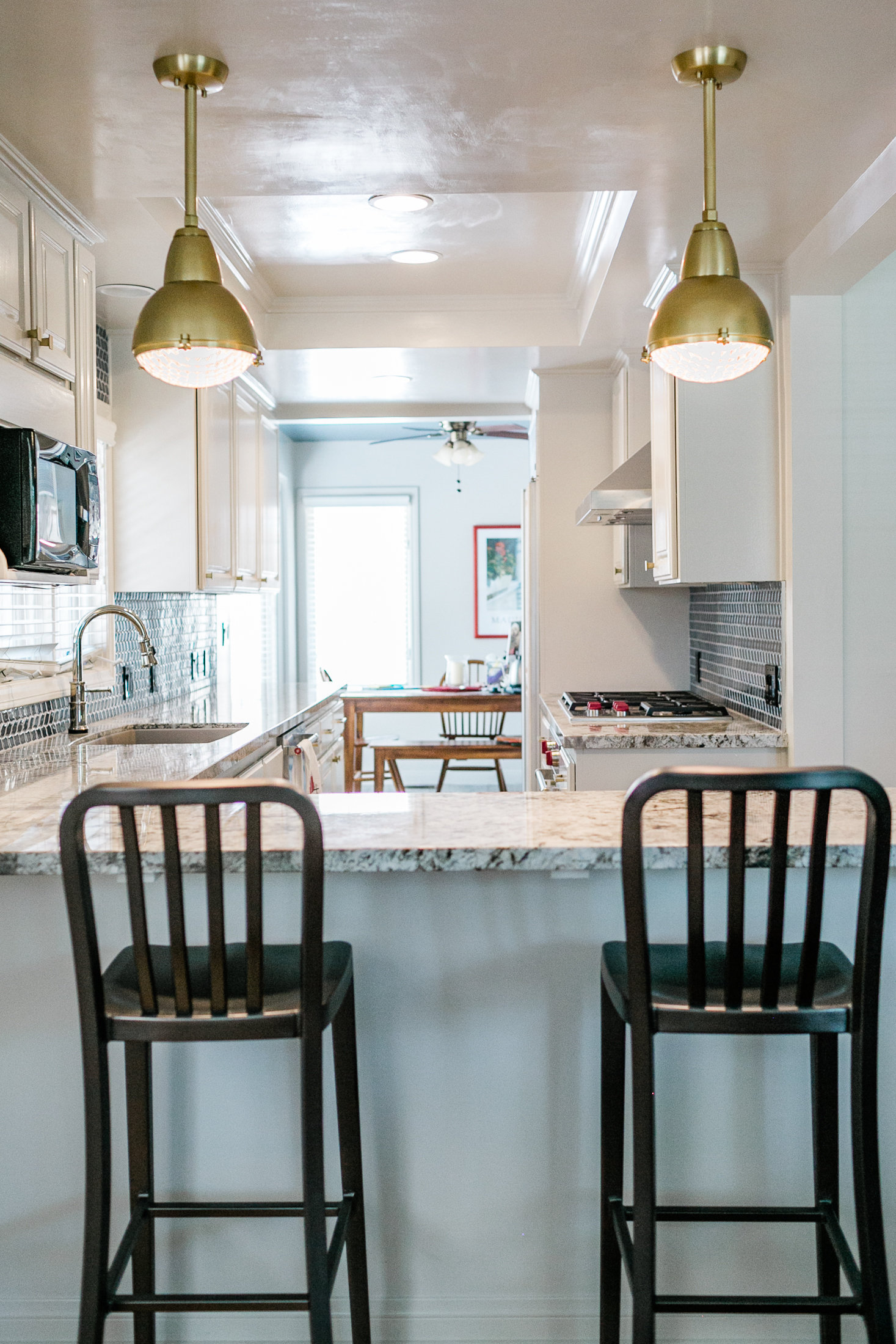 very blue kitchen, Kitchen, Dining Room, remodel, painted ceiling, dmv interior designer, bowie maryland, washington dc, pendants